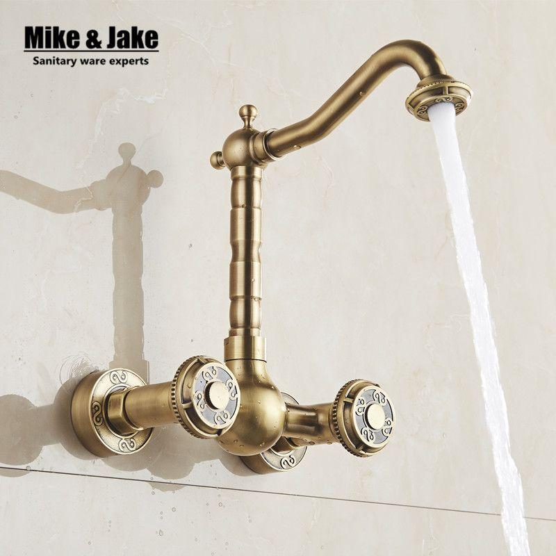 Antique brass wall mounted kitchen faucet Bathroom antique Faucet ...