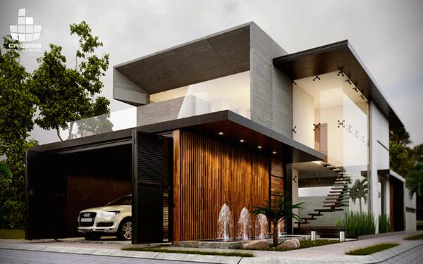 Casa residencial en colima colima fachadas pinterest for Construcciones minimalistas