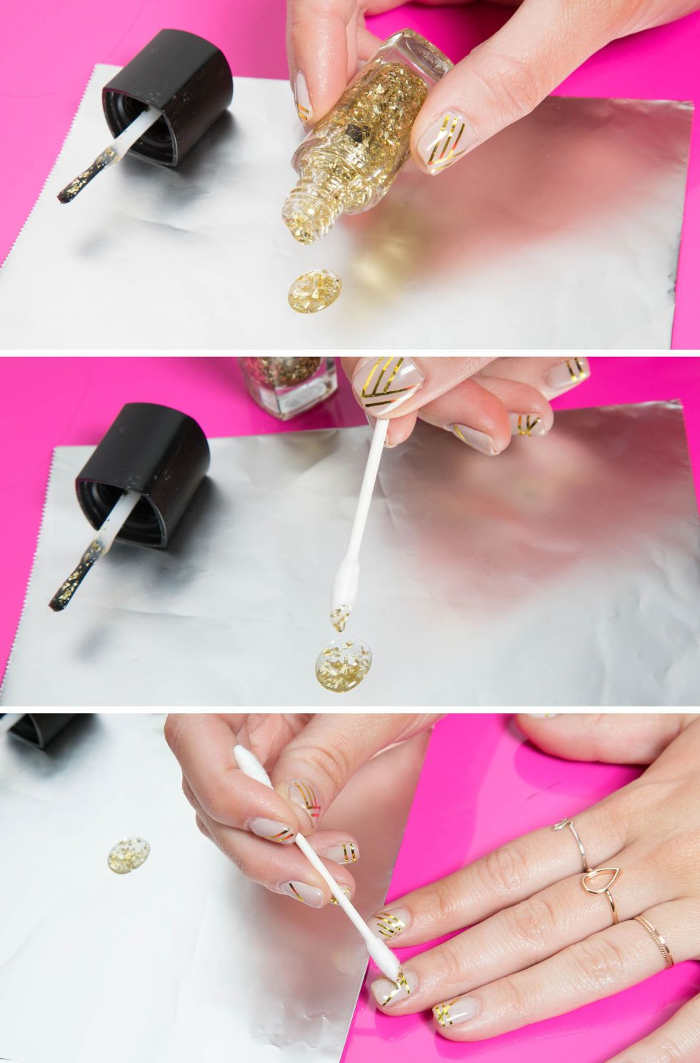 Use a cotton swab as a tool for applying glitter nail polish ...