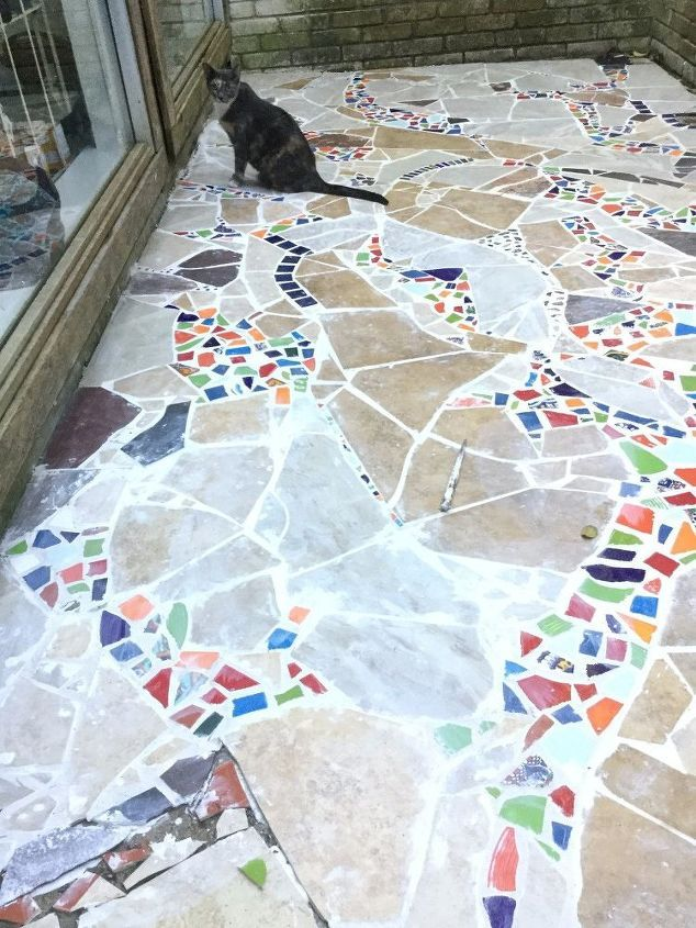 Mosaicked Outdoor Catio Cat Patio Mosaic Flooring Mosaic Walkway Mosaic Garden