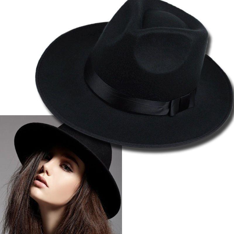 abc529243ef77 Retro Men Women Black Wide Brim Faux Jazz Wool Felt Hat Floppy Bowler Fedora  Cap
