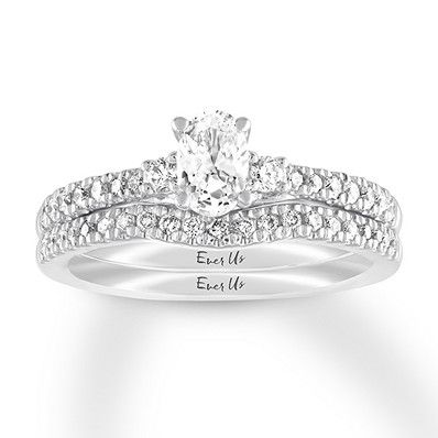 6fb7f4aab8a2c Ever Us Diamond Bridal Set 7/8 ct tw Oval/Round 14K White Gold in ...