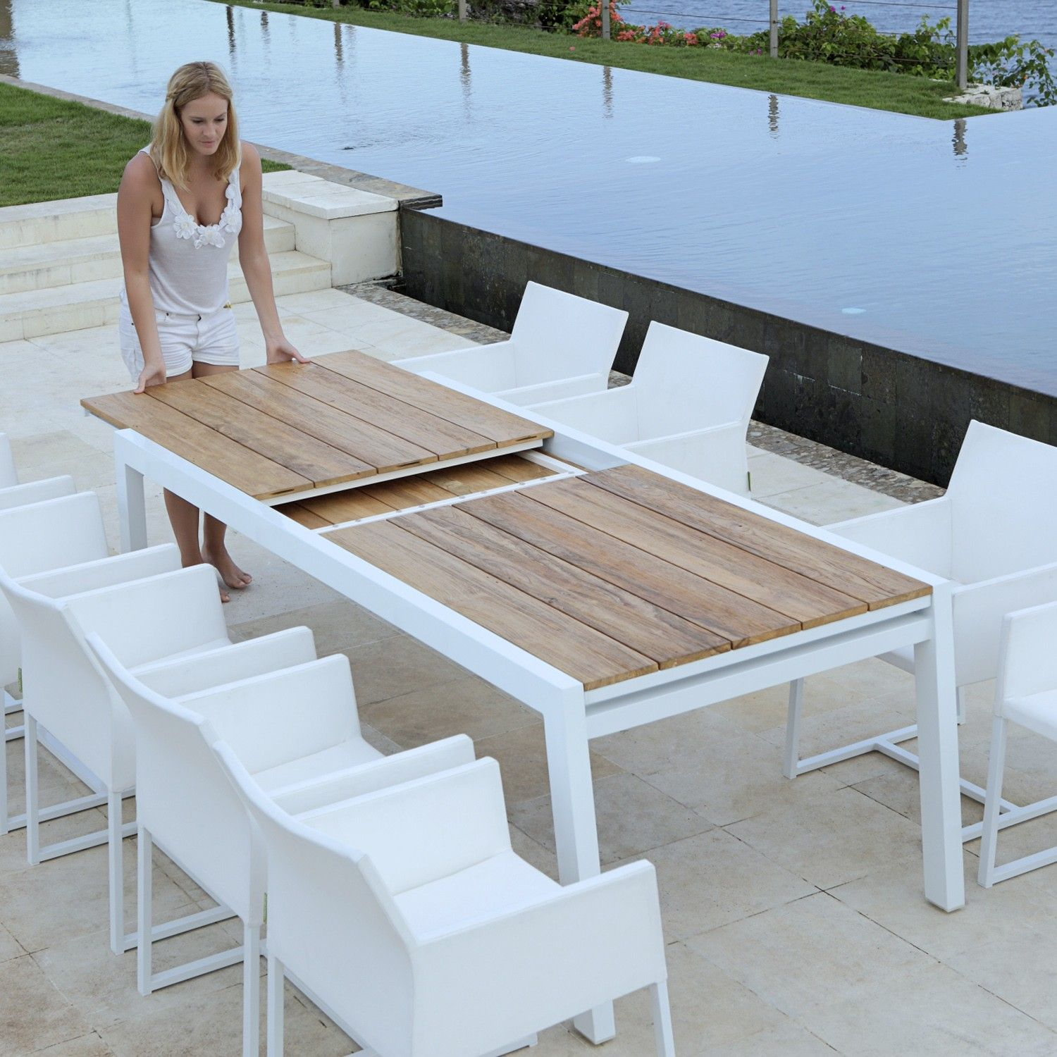 Mamagreen Baia Outdoor, Extension, Patio Teak Dining Table ...