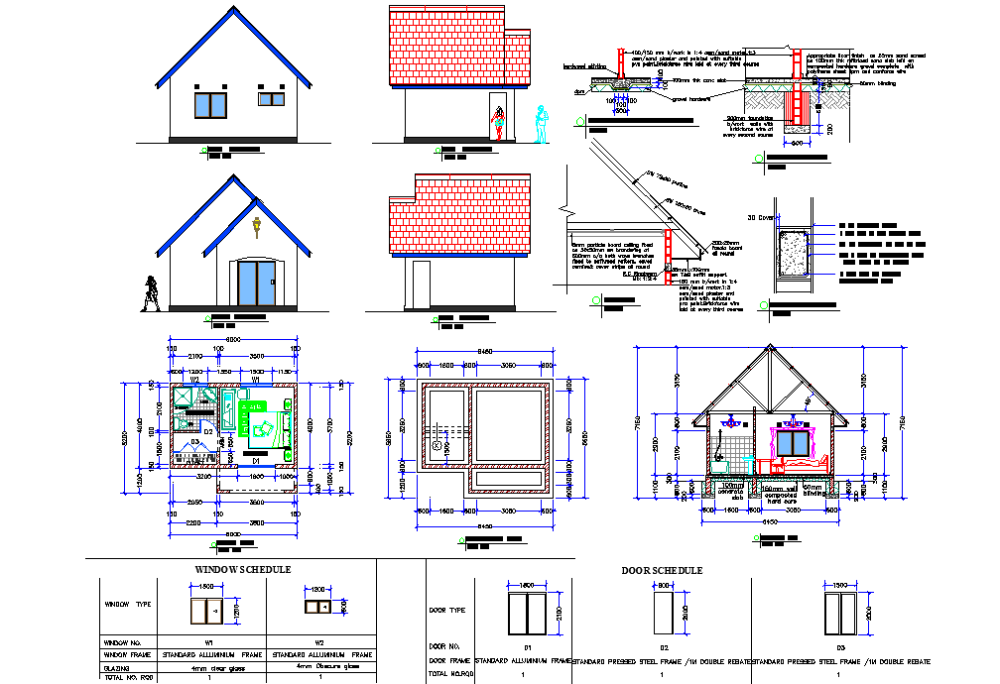 Chalet Plan Elevation And Section Detail Dwg File How To Plan Architectural House Plans Chalet