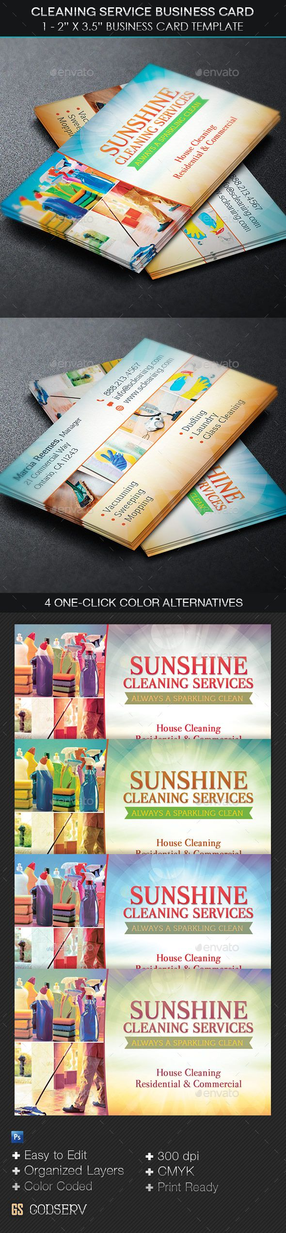 Cleaning Service Business Card Template | Card templates, Business ...