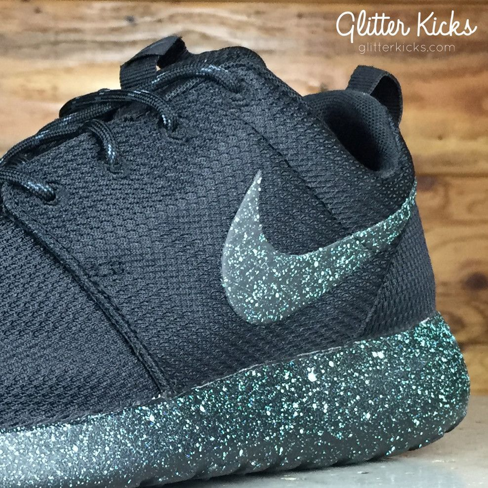 nike roshe one customized by glitter kicks mint oreo black mint green paint speckle