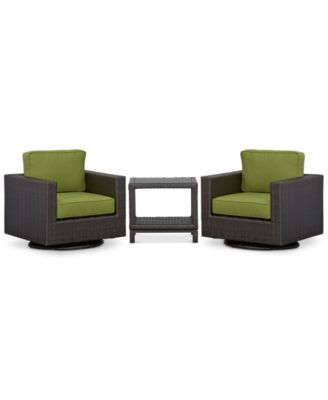 Katalina Outdoor Wicker 3-Pc. Seating Set (2 Swivel Gliders and 1 End Table)