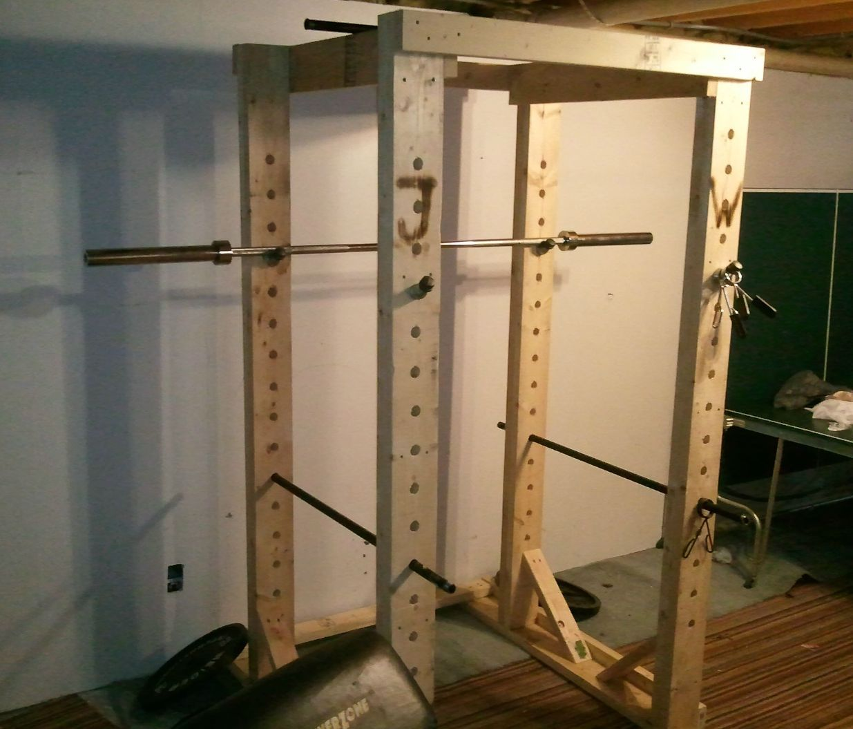 Homemade wooden power rack