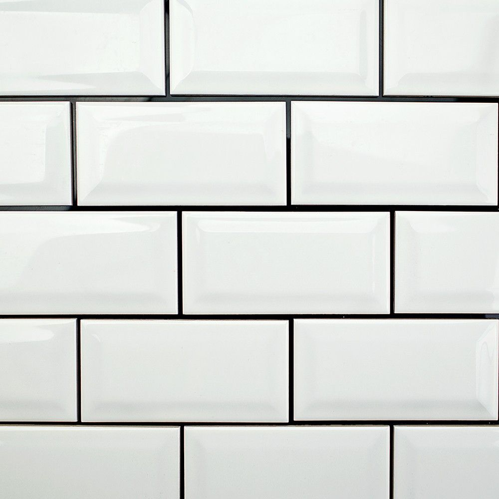 Basic White 3x6 Polished Beveled Ceramic Wall Tile White Tiles Black Grout White Beveled Subway Tile White Ceramic Tiles