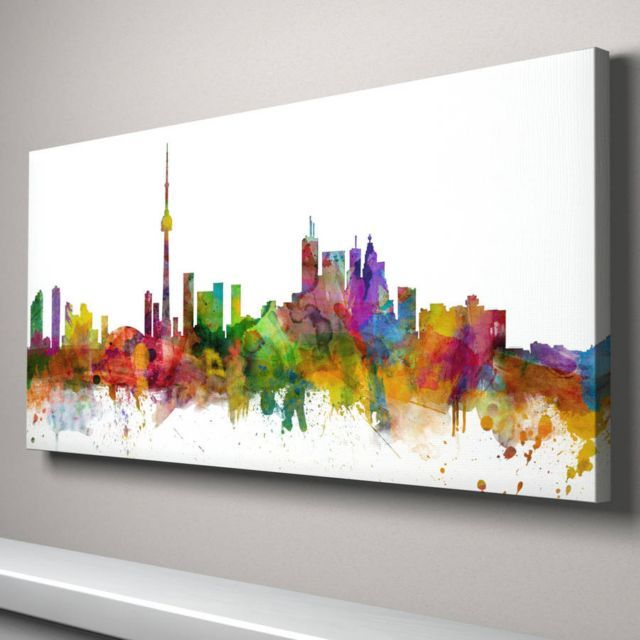 A vibrant and exciting abstract watercolour skyline art print of the ...