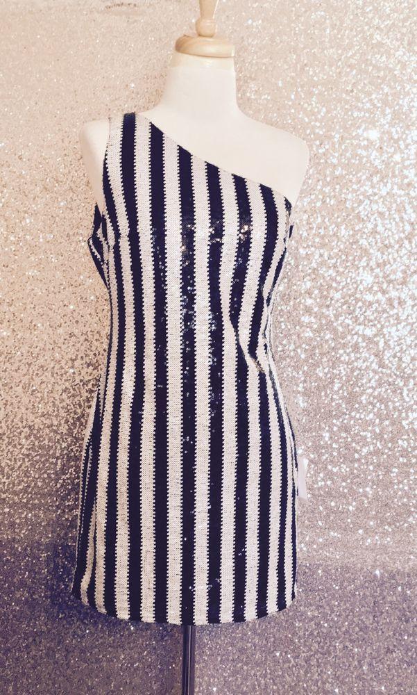 Ark Co Sequin Cocktail Black White Striped One Shoulder Dress