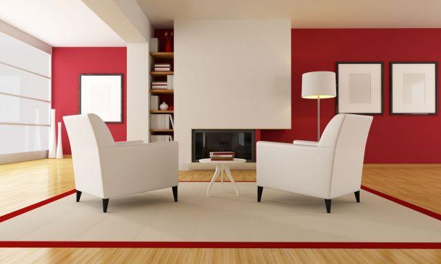 Decorar salón en rojo, negro y gris - Color rojo y blanco OFICINA