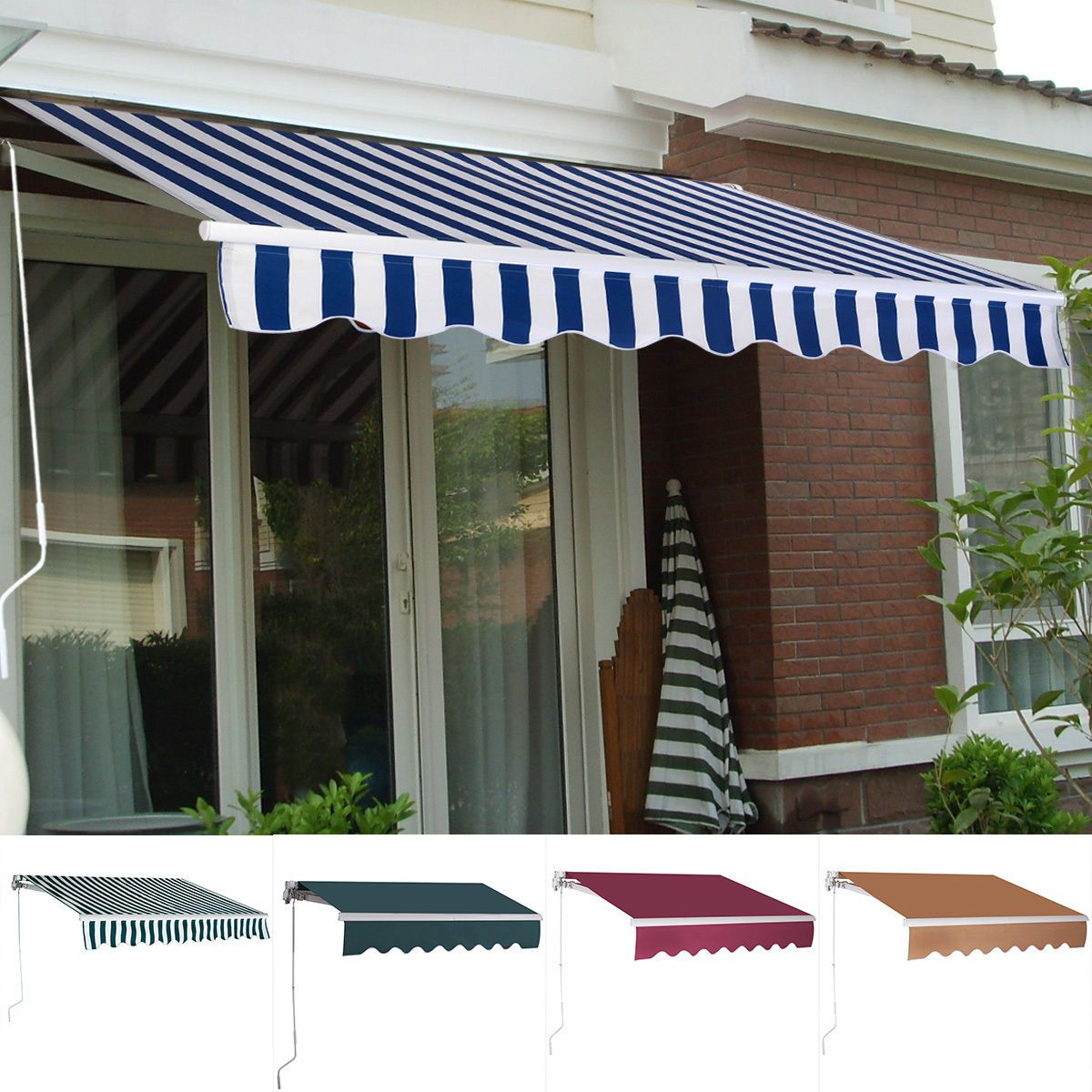 11 4 X9 8 Manual Patio Canopy Retractable Deck Awning Sunshade Shelter 5 Color Canopy Outdoor Deck Awnings Patio Awning