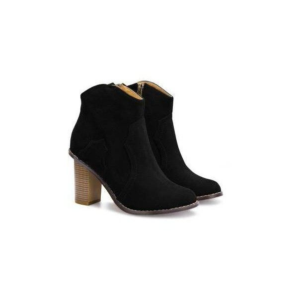 Yoins Heeled Suede Ankle Boots in Black (100 BAM) via Polyvore featuring shoes, boots, ankle booties, suede boots, suede booties, black suede booties, faux suede booties i suede bootie