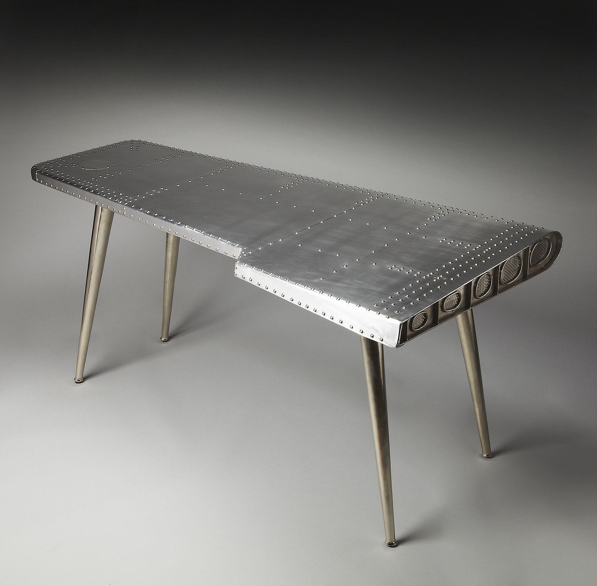 Aviator Polished Aluminum Office Desk