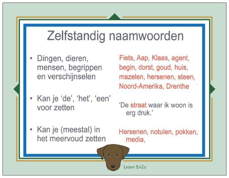 Hulpkaart  u0026gt; # Zelfstandige naamwoorden   # Onze Taal EnZo   Pinterest   School, Language and