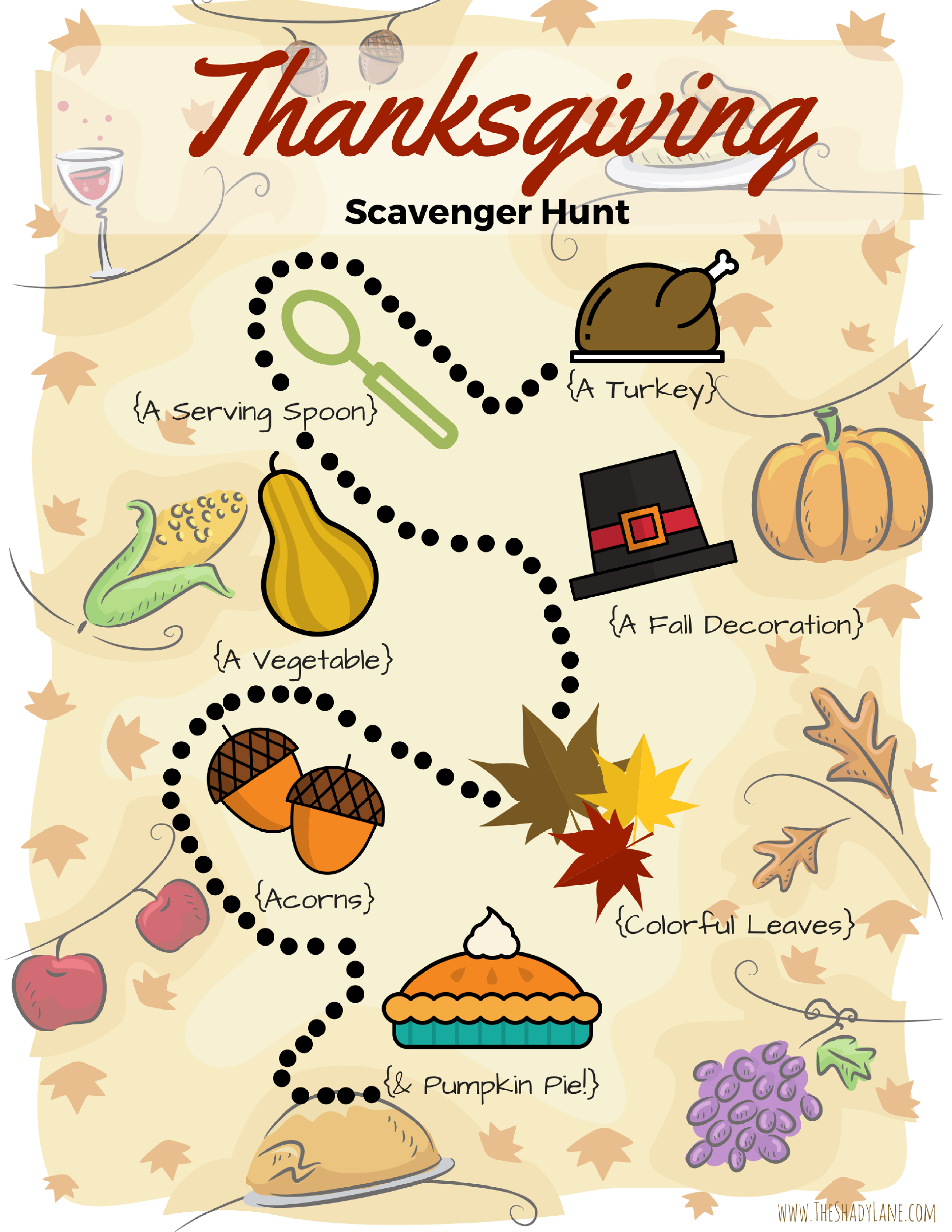 Thanksgiving Scavenger Hunt Free Printable