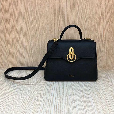 2018 S S Mulberry Mini Seaton Bag Black Small Classic Grain Leather ... bbe9583249e9a