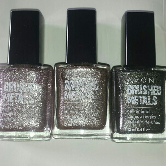 Brushed Metals Matte Polish, Pack of 3 Metal and matte texture polish, colors are pink, rose gold, and silver. Swatches availiable upon request. Avon Other