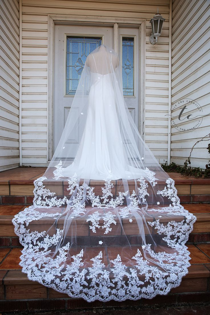 Wedding chapel veil with lace dragging behind the bride alencon lace
