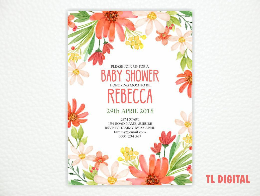 Baby Shower Invitation - Daisy Watercolour Invite - Printable ...