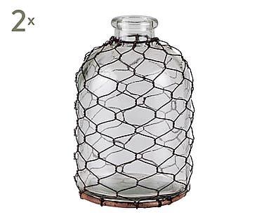 Set de 2 jarrones en cristal con malla de alambre - altura 18 cm