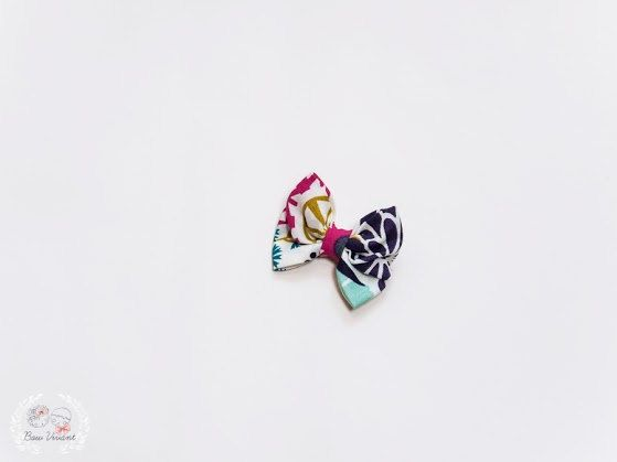 Organic cotton colorful mini hair bow, eco friendly baby bow, floral bow on Etsy, $8.00