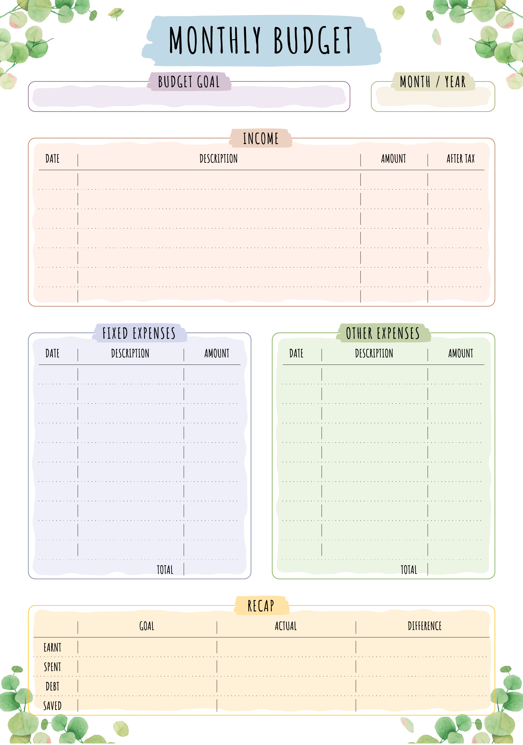 Keep Your Monthly Expenses With This Printable Monthly