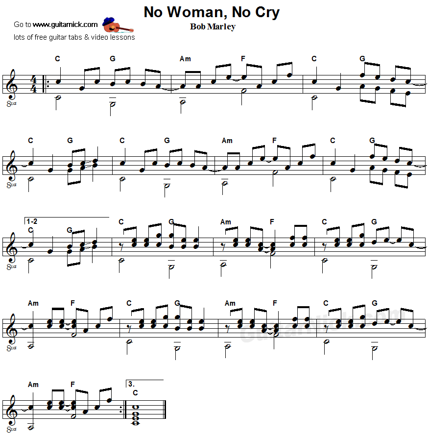 No Woman No Cry - fingerstyle guitar sheet music | Fingerstyle ...