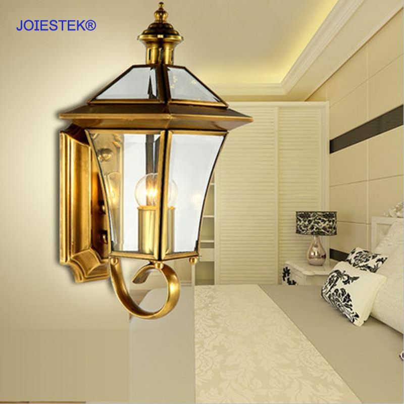 European Classical Luxury Outdoor Copper Art Waterproof Wall Lamp ...