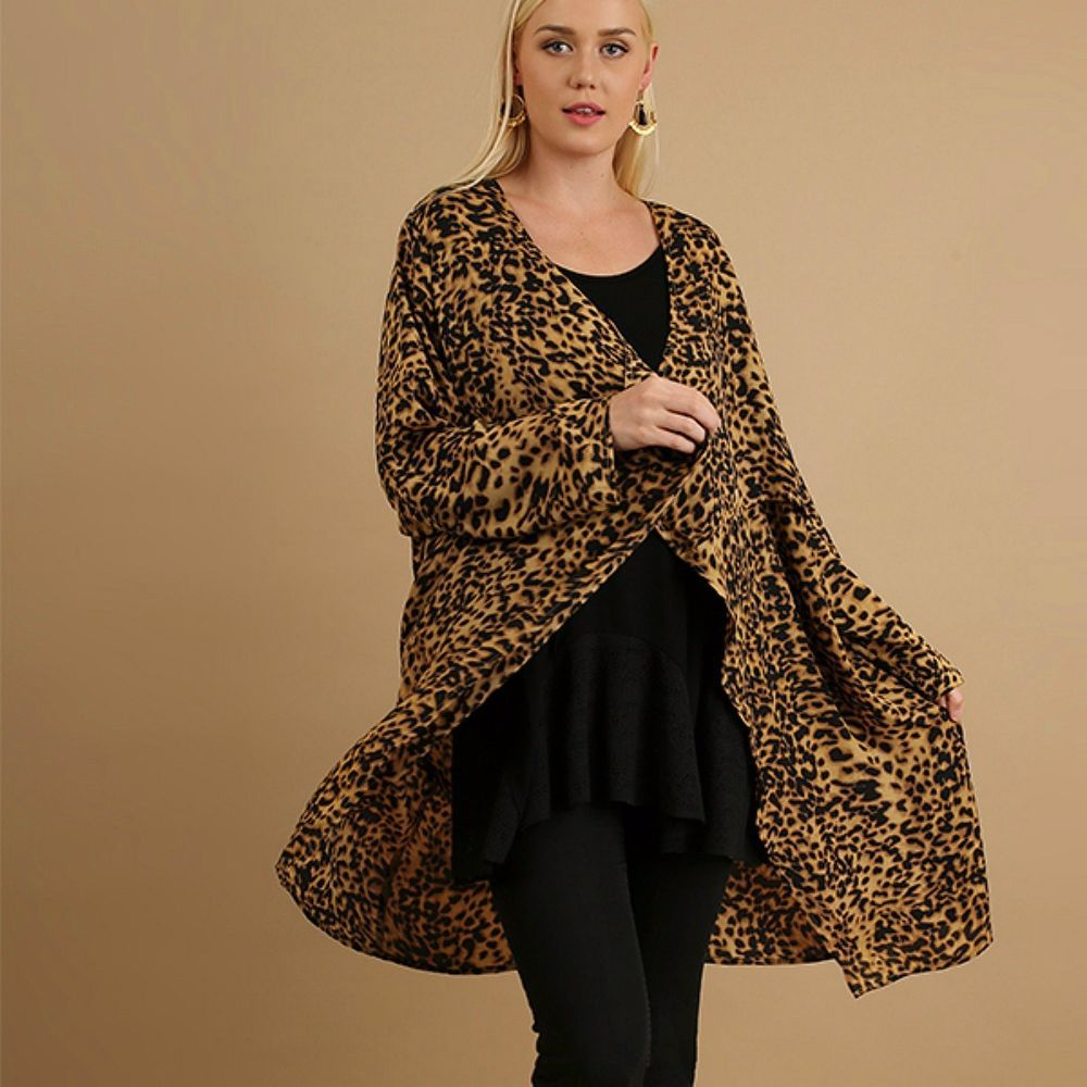 UMGEE PLUS Leopard Print Notch Collar Open Kimono Long Cardigan ...