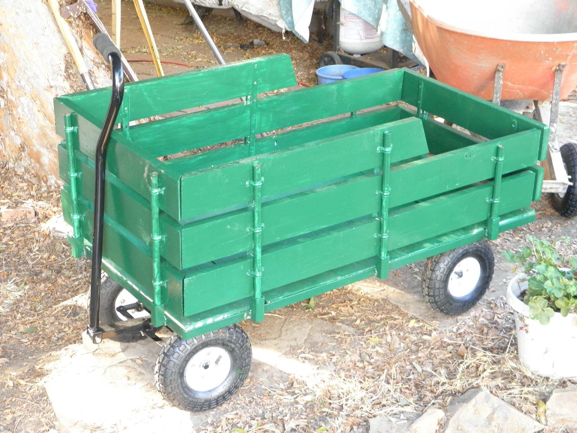 My Diy Wagon From Harbor Freight New Sides And Tail Gate With Images Diy Tools Garden Tools Wheelbarrow