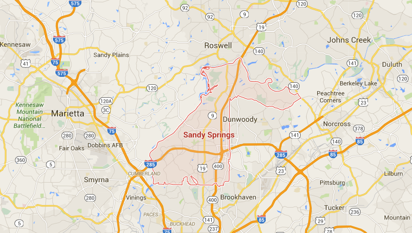 Map Of 575 Georgia.City Limits Map Of Sandy Springs Ga Sandy Springs Charlotte