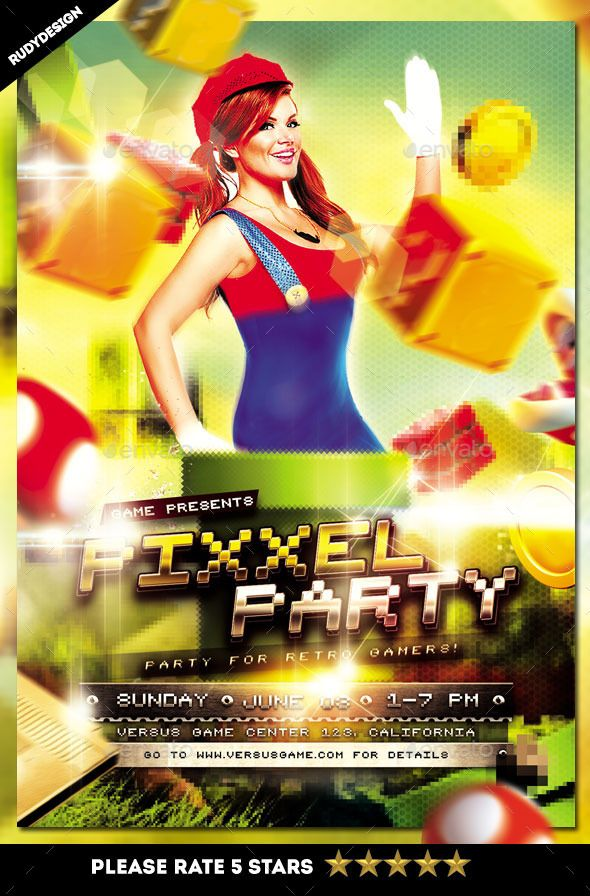 Pixel Retro Video Games Party Flyer Template  Flyer Template