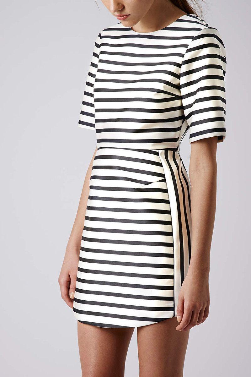 Topshop Beige Satin Stripe Aline Dress | Black & White ...
