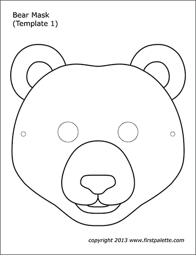 Bear Mask Coloring Page 1 Eventyr Barnehage Handverk For Barn Barnehage