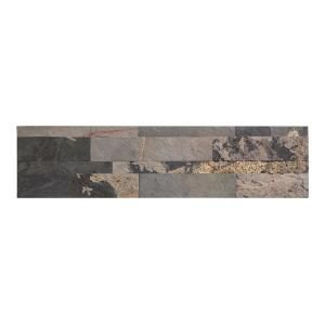 Aspect 24 in. x 6 in. Peel and Stick Stone Decorative Backsplash in Medley…