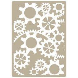 Stencil Deco Embossing 026 Engranajes