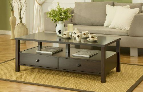Enitial Lab Novelty Coffee Table With Drawers Cappuccino By