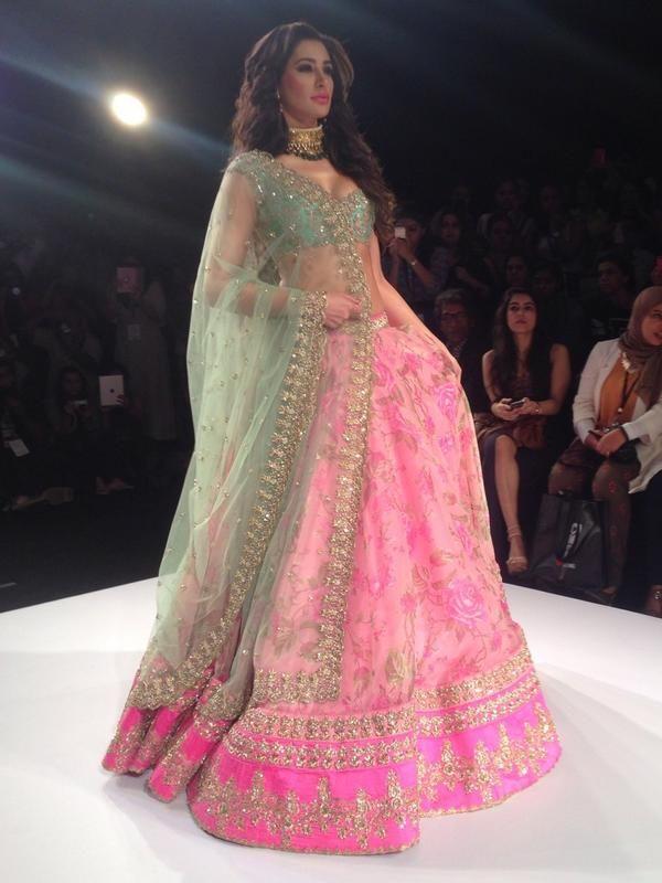 Nargis Fakhri walks the ramp for Anushree Reddy in a floral lehenga ...