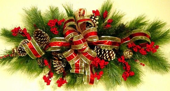 Horizontal Christmas Winter Swag Or Centerpiece Or Mantle