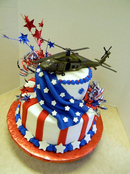 Red White and Blue Patriotic Cake with Army Helicopter as the cake