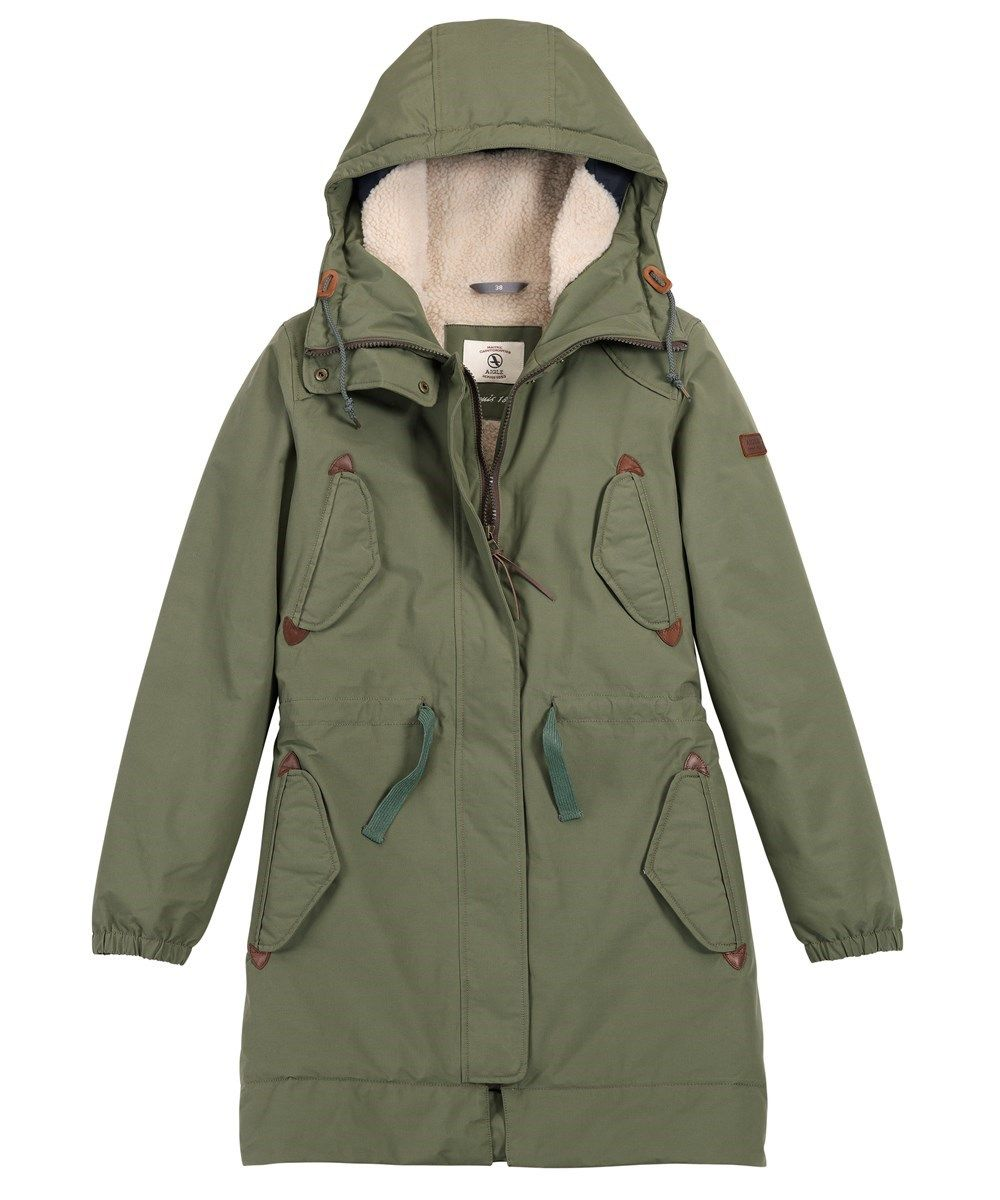 903820755 Women's Aigle Fishlong Long MTD Parka Jacket - Light Bronze | Walk ...