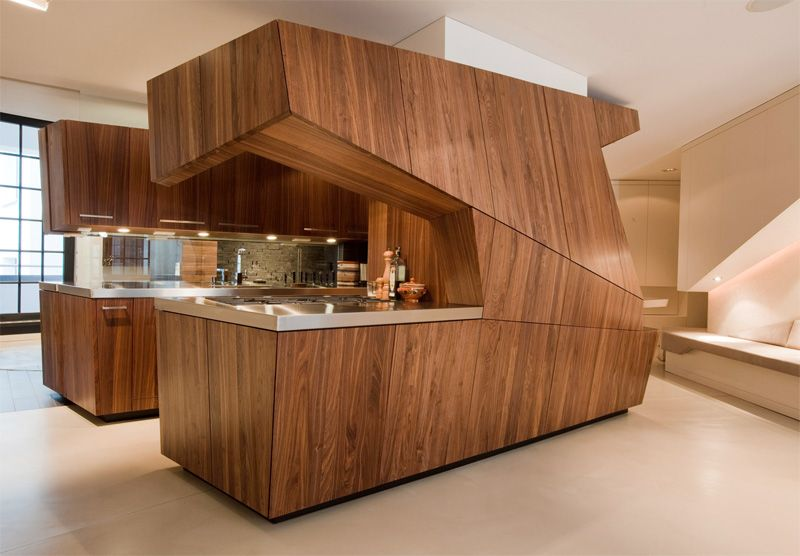 Modern Loft With A Freestanding Centralized Wood Veneer Kitchen | DigsDigs