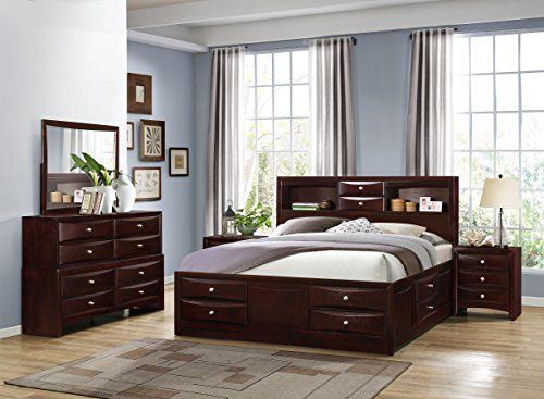 Roundhill Furniture Ankara Wood Construction Bedroom Set, Includes ...