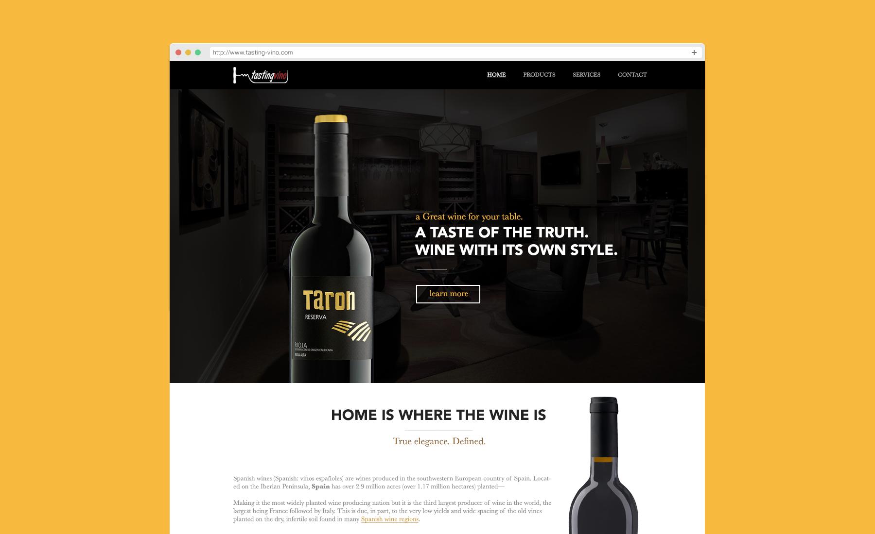 Wine website TastingVino. Flat webdesign, white black and yellow. Wine bottles all the way.