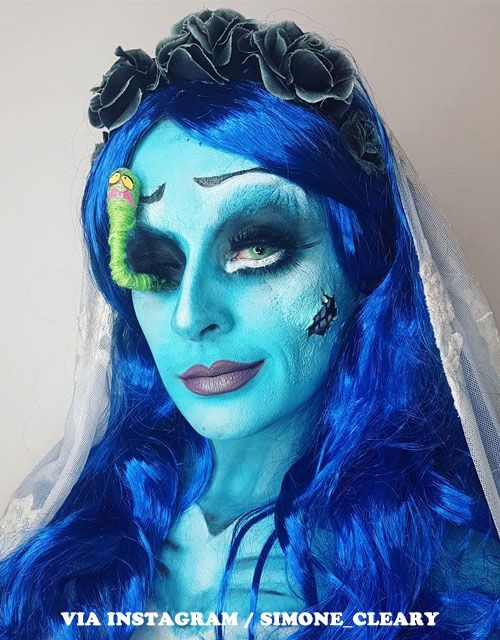 Halloween Makeup Ideas For Blue Hair Blue Wigs Fabulous Corpse Bride Makeup Creation By Simone Clea Corpse Bride Makeup Bride Makeup Halloween Makeup Looks