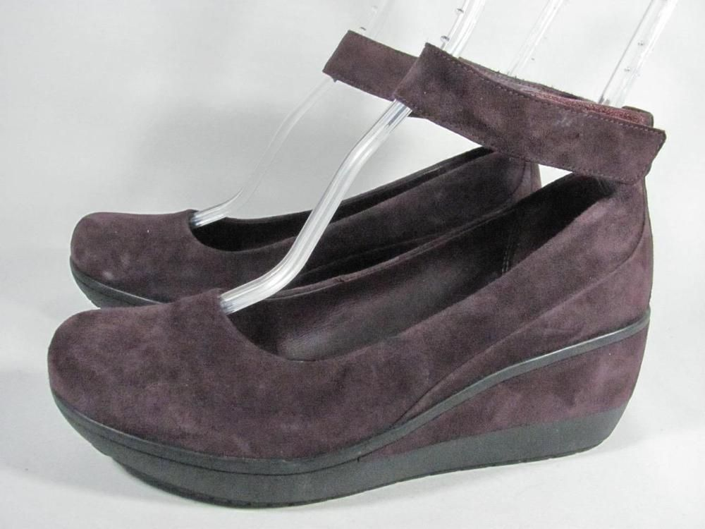 3119608fc3a Clarks Wynnmere Fox Ankle Strap Wedge Women size 7.5 Purple  fashion   clothing  shoes