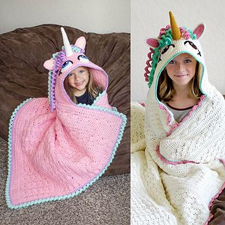 This crochet hooded unicorn blanket is comfy coziness at its best! This  pattern will help you create the perfect gift for girls of all ages (I m  sure some ... 5ed0ab53796
