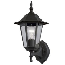 portfolio 14 in h matte black outdoor wall light pretty for outside at lowes light fixtures. Black Bedroom Furniture Sets. Home Design Ideas
